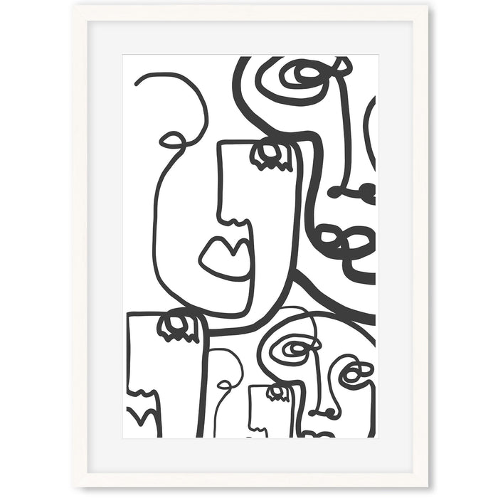 Line Faces Art Print White Frame