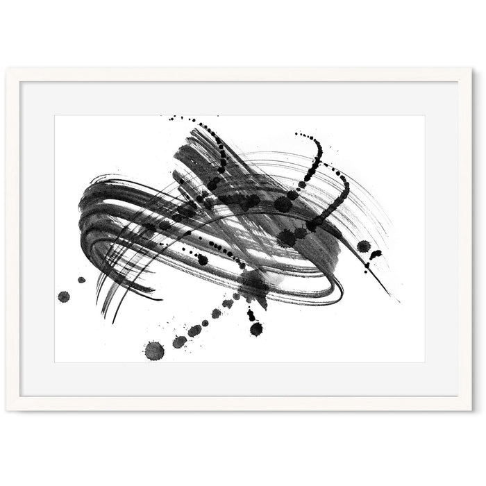 Ink Droplet Art Print White Frame