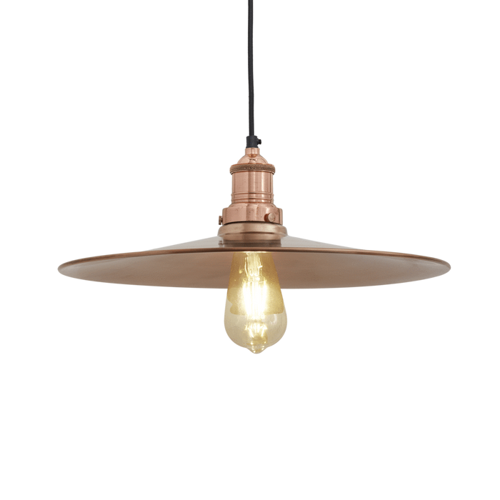 15 Inch Pewter Flat Pendant Light