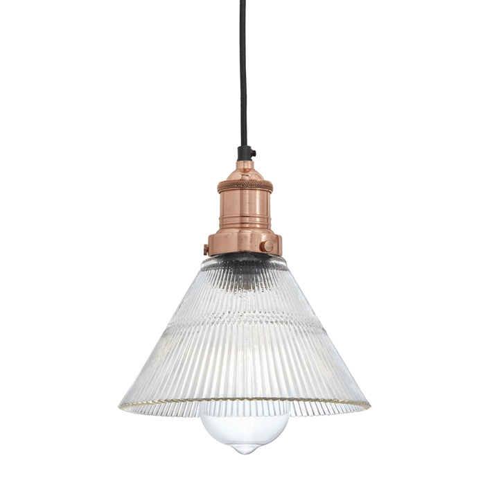 Conical Copper Glass Pendant Light