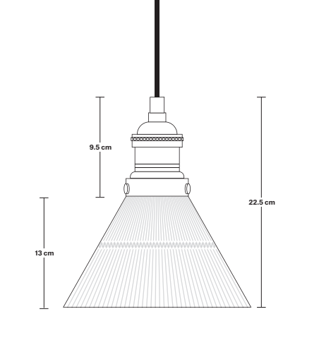 Conical Glass Pendant Light Dimensions