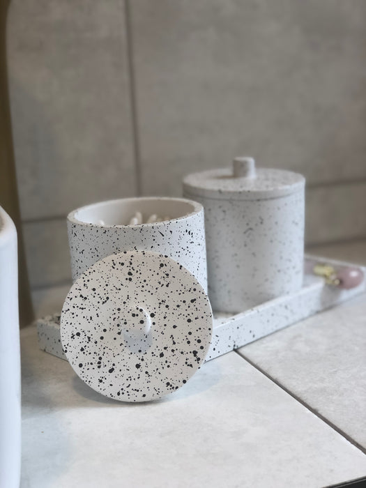 Speckled Concrete Cotton Jar