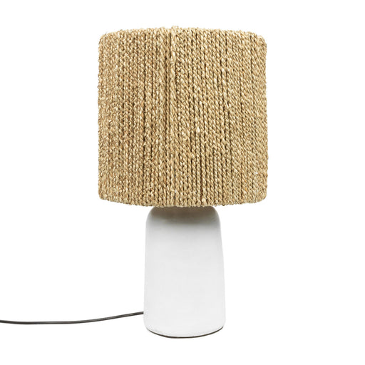 The White Chalki Seagrass Table Lamp Boho