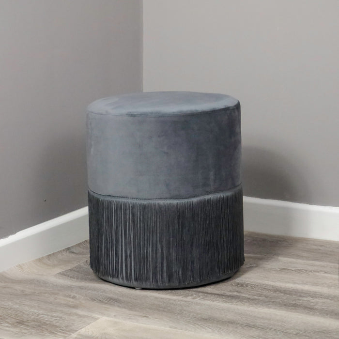Grey Velvet Tassle Stool