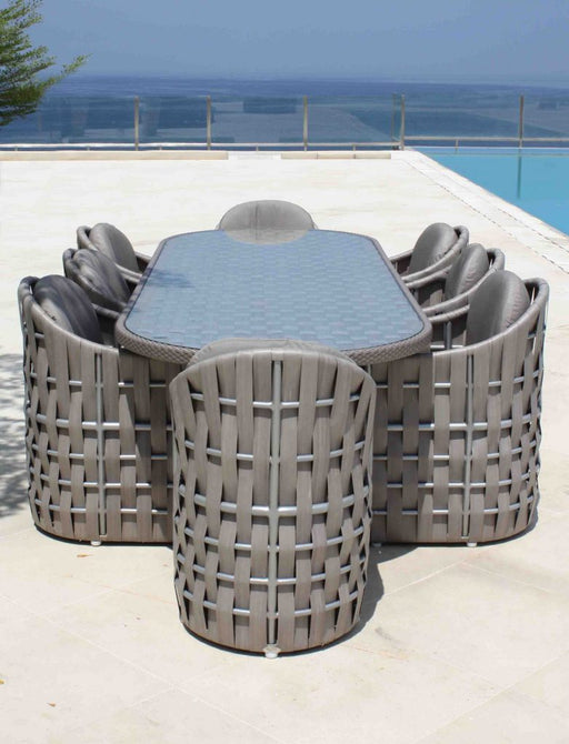 Skyline Design Outdoor Strips Round 8 Seater Dining Table