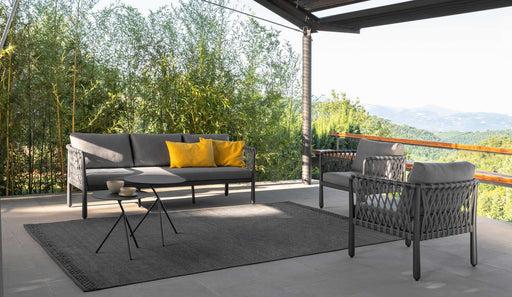 Sofy Large Outdoor Coffee Table In Charcoal Black With Sofy Sofas