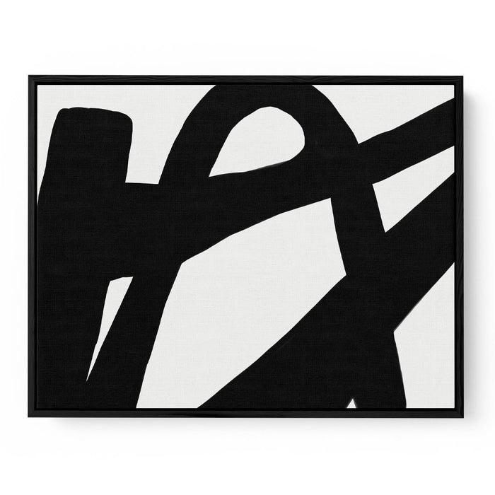 Black Line Abstract Canvas Print 50x70 Black Frame