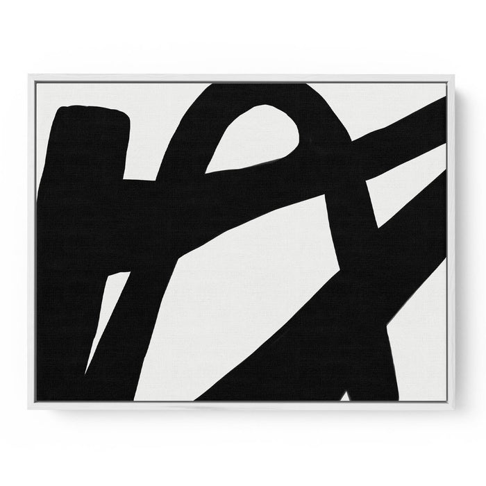 Black Line Abstract Canvas Print 50x70 White Frame
