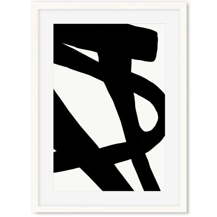 Black Line Abstract Art Print A2 White Frame