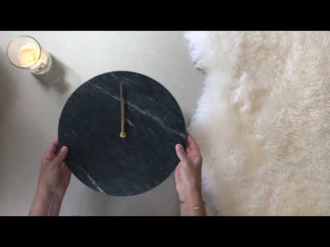 Unboxing and reviewing White Marble Wall Clock with Gold Hands
