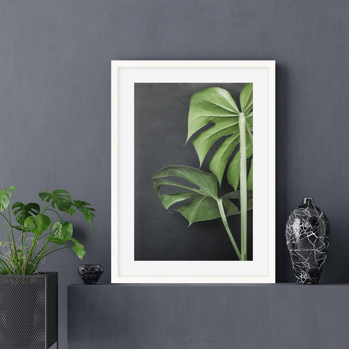 Monstera Plant Portrait Art Print Wall Hung