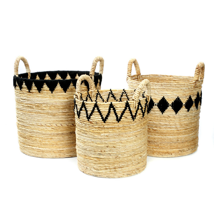 Banana Stitched Baskets - Black - Set of 3