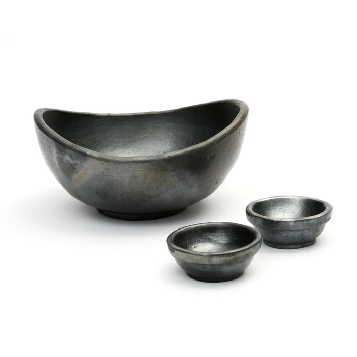 Black Curved Burned Bowl - Set of 3
