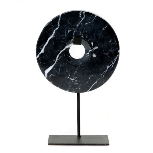 Black Marble Disc on Stand - Large