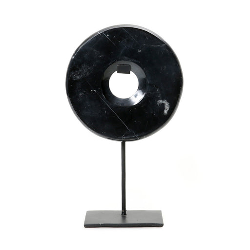 Black Marble Disc on Stand - Medium