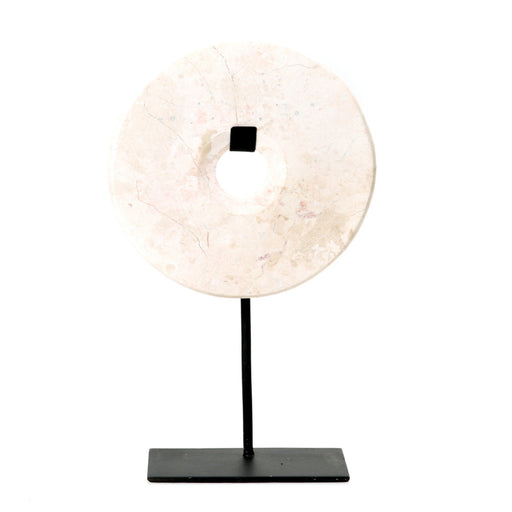 White Marble Disc on Stand - Large