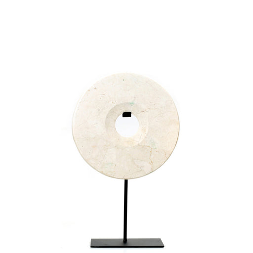 White Marble Disc on Stand - Medium