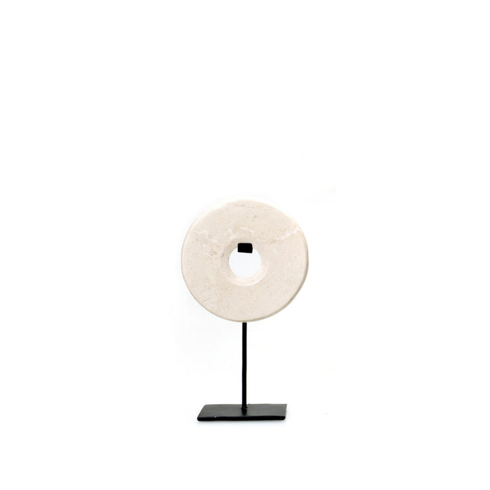 White Marble Disc on Stand - Small