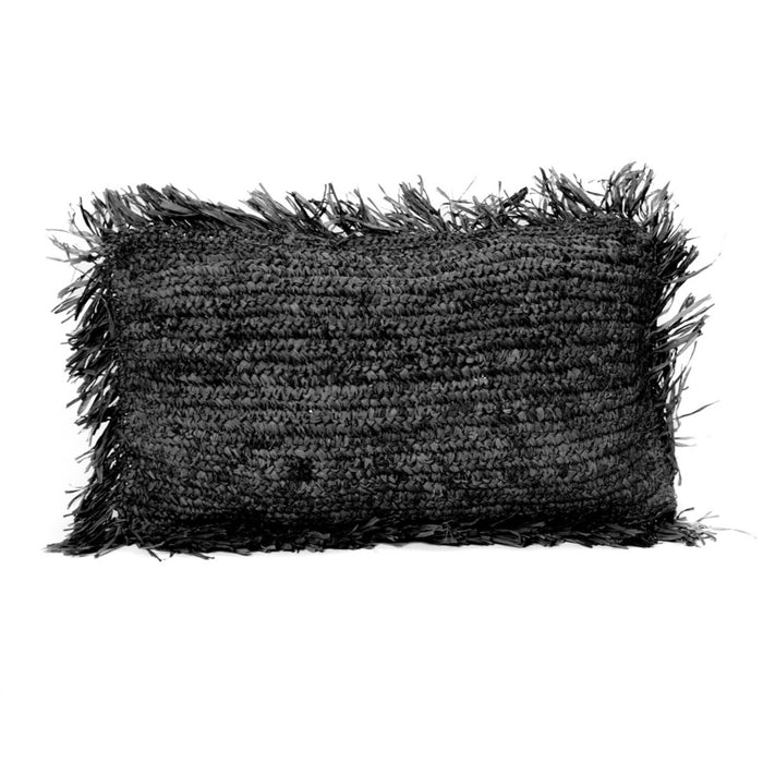 Black Raffia Cushion Rectangular - 30x50