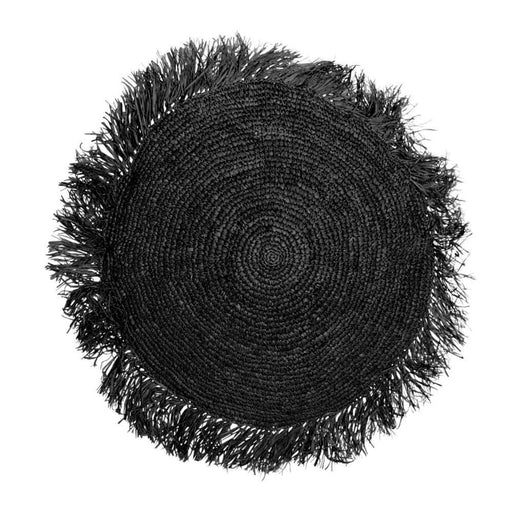 Black Raffia Cushion Round - 60x60