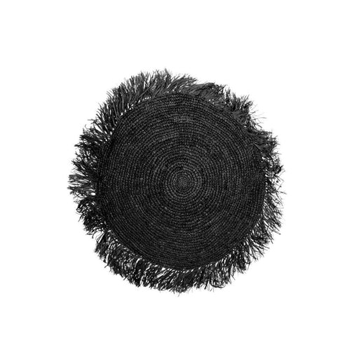Black Raffia Cushion Round - 40x40