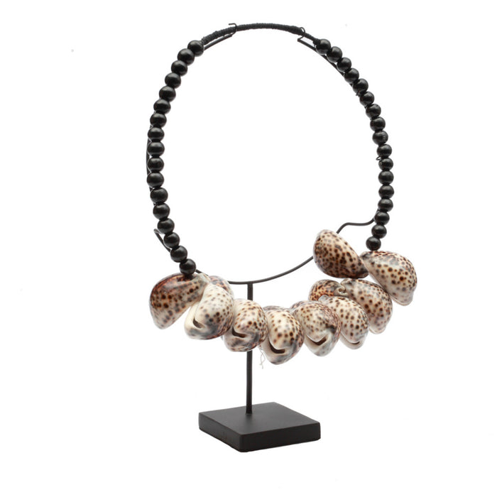 The Tiger Cowrie Necklace Black Wood With Stand