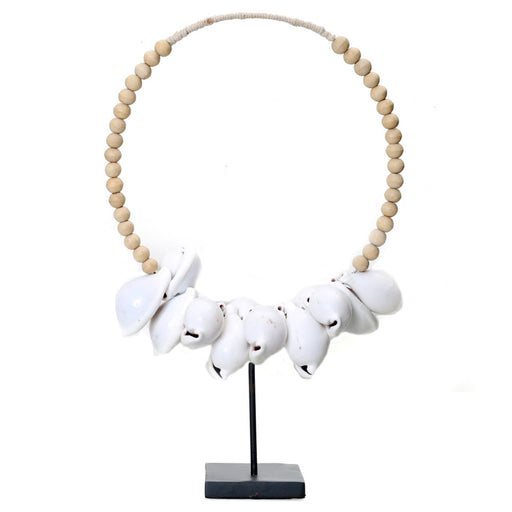 The White Cowrie Necklace Natural Wood With Stand