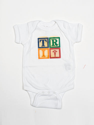 White Tri Blocks Baby Onesie