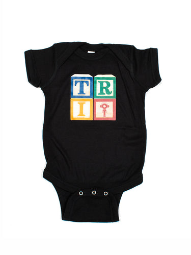 Black Tri Blocks Baby Onesie