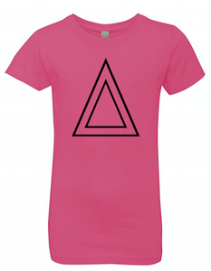 Hot Pink Princess Cut T-Shirt With Black Triangle