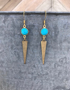 Turquoise Coin + Gold Spike Dangles
