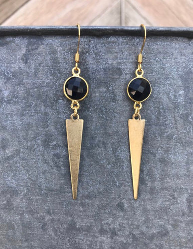 Black Coin + Gold Spike Dangles