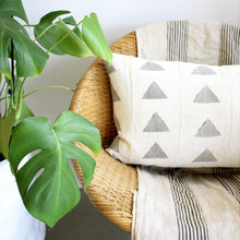 White Triangle African Mudcloth Pillow