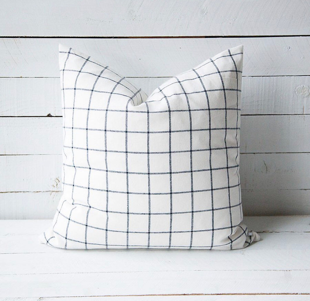 Ivory Black Check print pillow