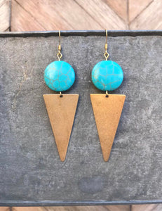 Turquoise + Gold Statement Triangle Dangles