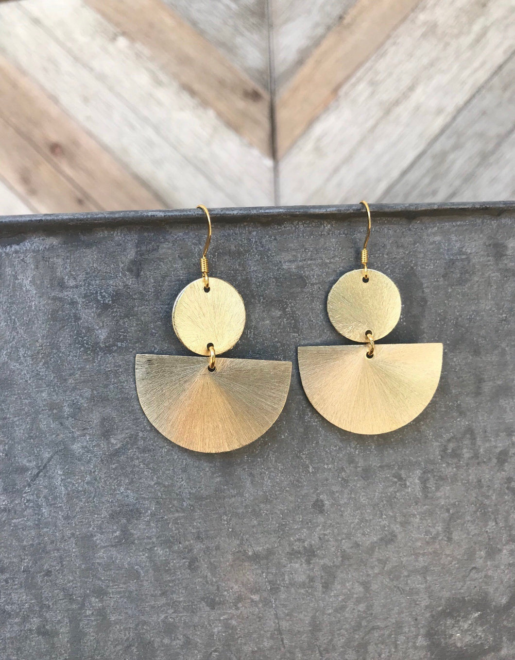 Brushed Gold Geometric Dangles