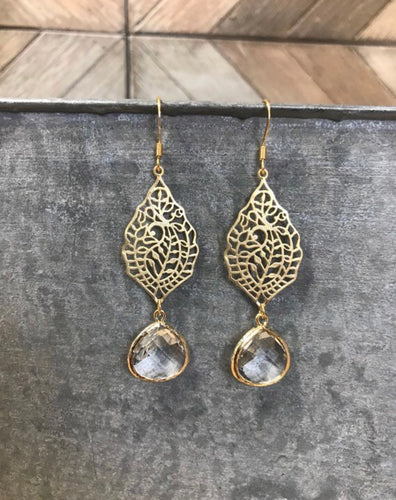 Crystal Clear Gold Athena Dangles