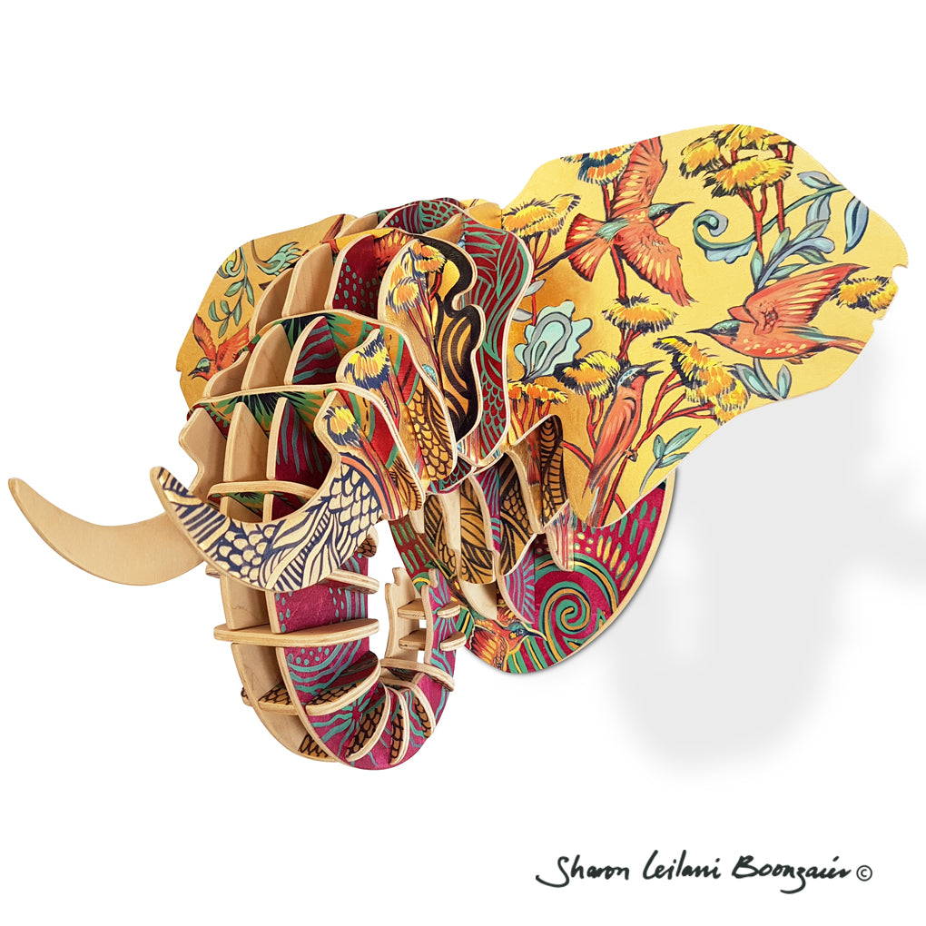 Hand Painted 'Bee-eater' Elephant head