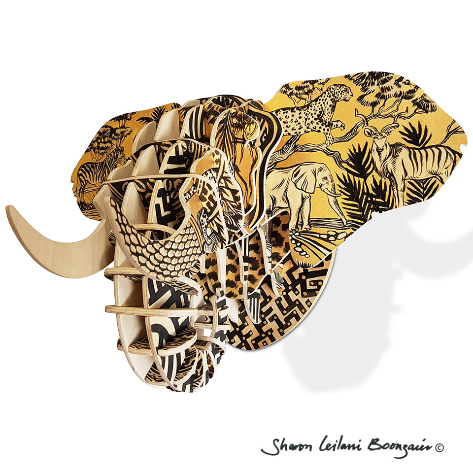 Hand Painted 'Safari' Elephant head