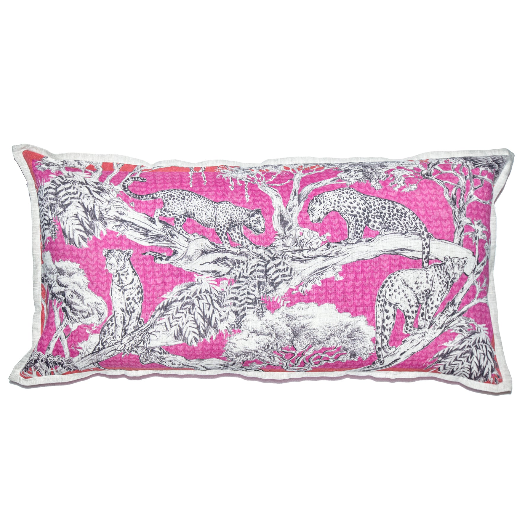Pink Leopard Cushion Cover (Large – Belgian linen)