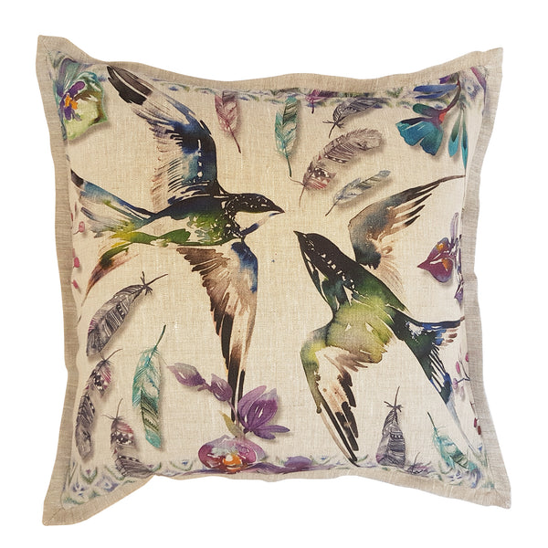Swallow Cushion Cover 2 (Standard – Belgian linen)