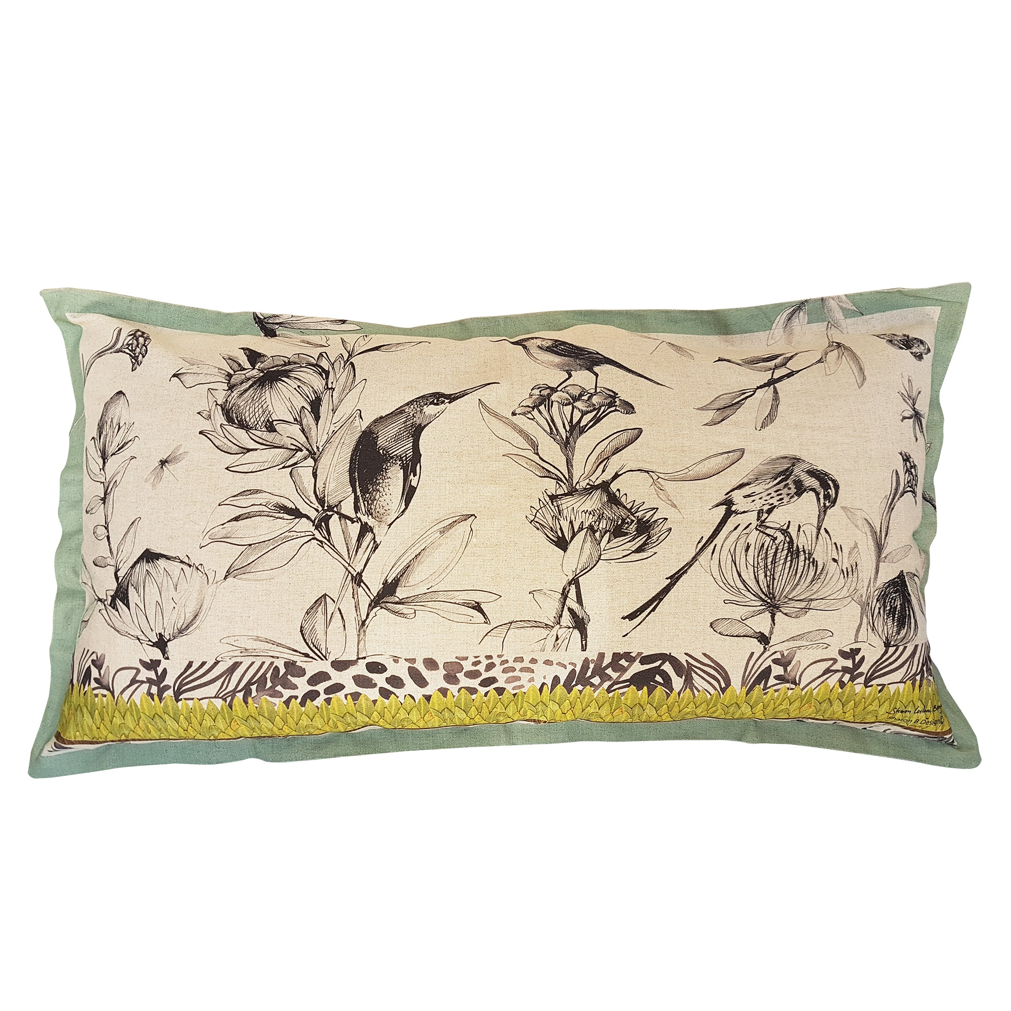 Greyscale Fynbos Cushion Cover (Large Linen-cotton blend)
