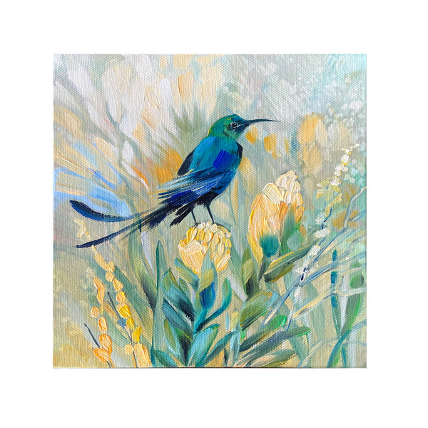 Malachite Sunbird Mini oil-on-canvas