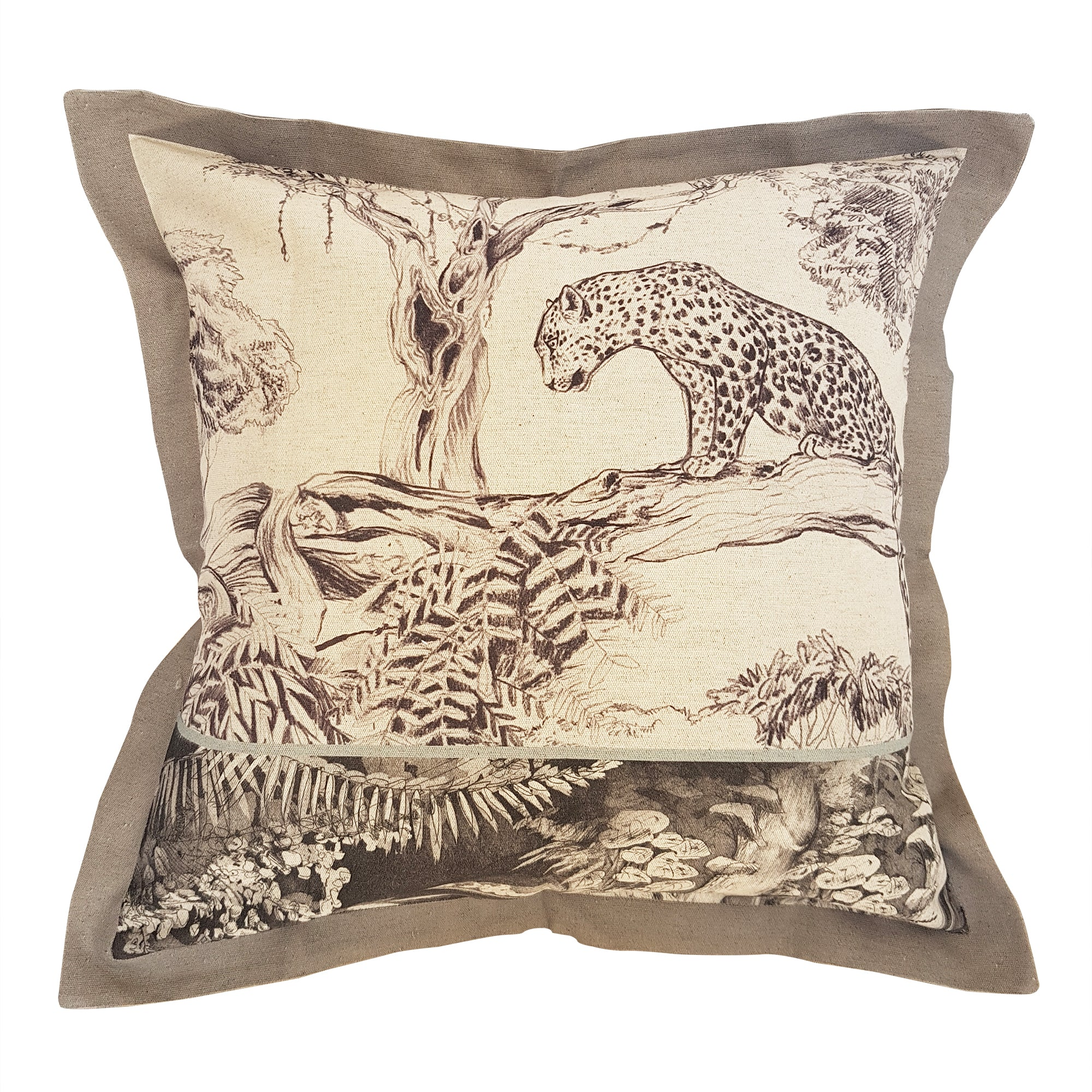Neutral Leopard Cushion Cover (Standard Linen-cotton blend)