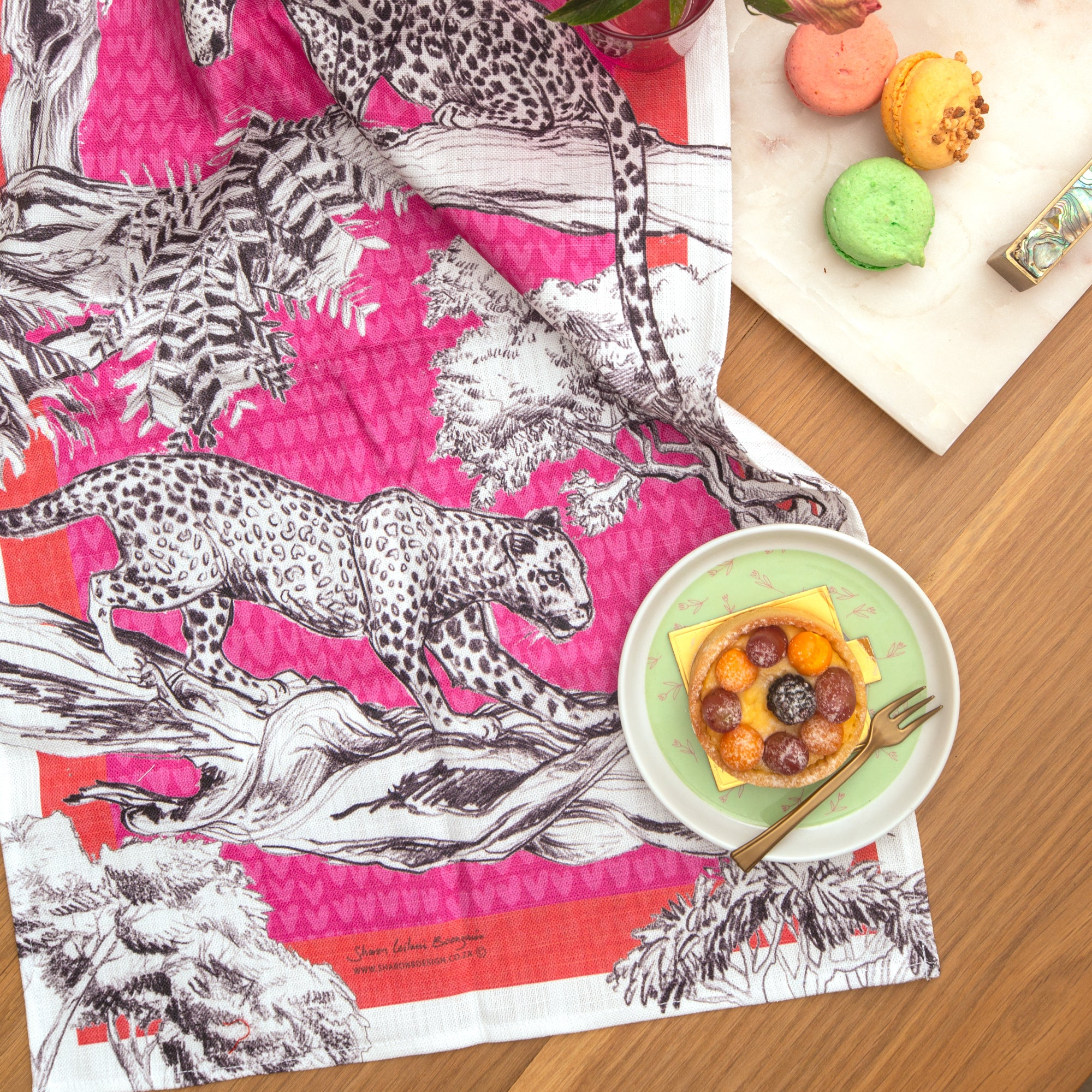 Pink Leopard Tea Towel