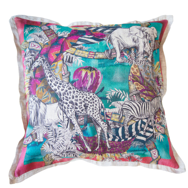 Turquoise Tribal Cushion Cover (Standard)