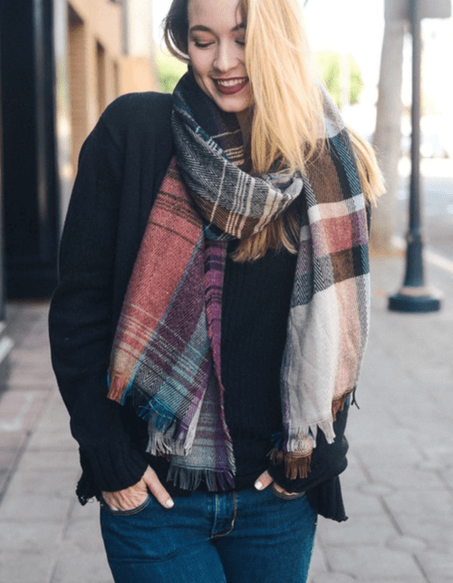 Beautiful Black Mix Plaid Winter Long Fringe Scarf - flipkarto