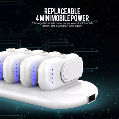 Portable Magnetic Mini Power Bank 4 Finger sized magnetic charger