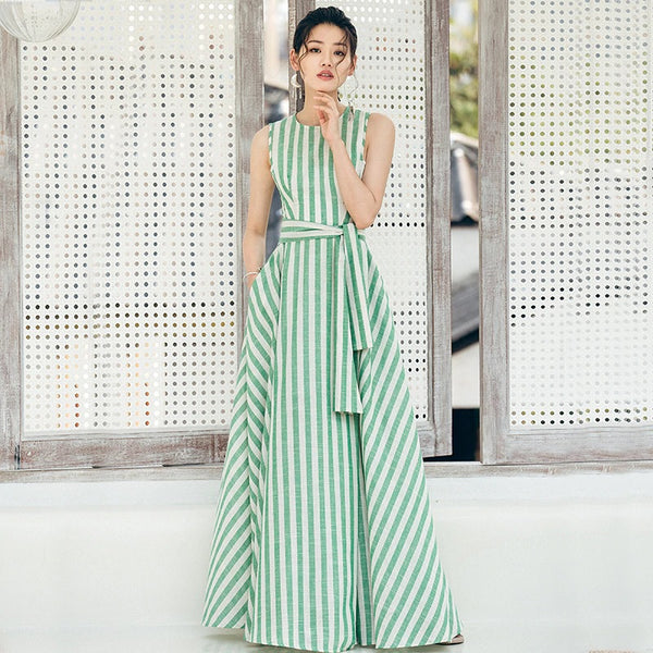 A-line dress brand sleeveless Floor length dress - flipkarto