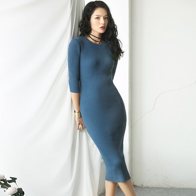 Bodycon Dress Multicolor Knit Casual Long Sweater